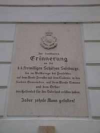 Memorial plaque for fallen soldiers of the Austro-Hungarian Salzburg volunteer riflemen, Salzburg, Austria