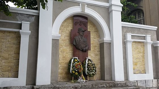 The Memorial Wall with a bas-relief of Rear Admiral Ivan Variclechkov  in Varna, Bulgaria