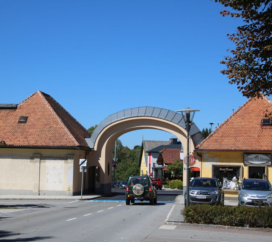Entrance gate, building and camp cemetery of the former Gmünd (-Neustadt) refugee camp, Lower Austria, Austria