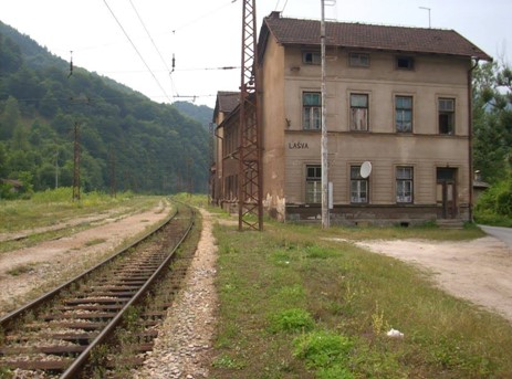 Narrow-gauge railroad and station Lašva, Zenica, Bosnia and Herzegovina