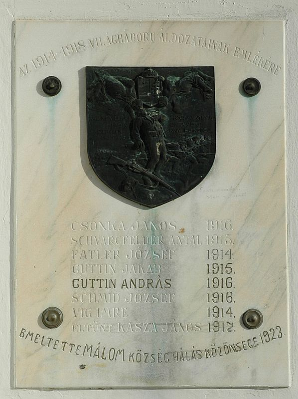 World War I Memorial Tablet – Pécs-Málom