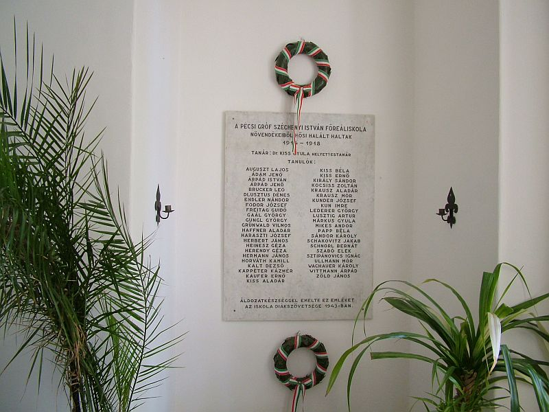World War I Memorial Tablet – Széchenyi István High School