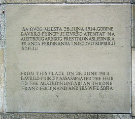 Assassination memorial plaques in Sarajevo, Bosnia and Herzegovina